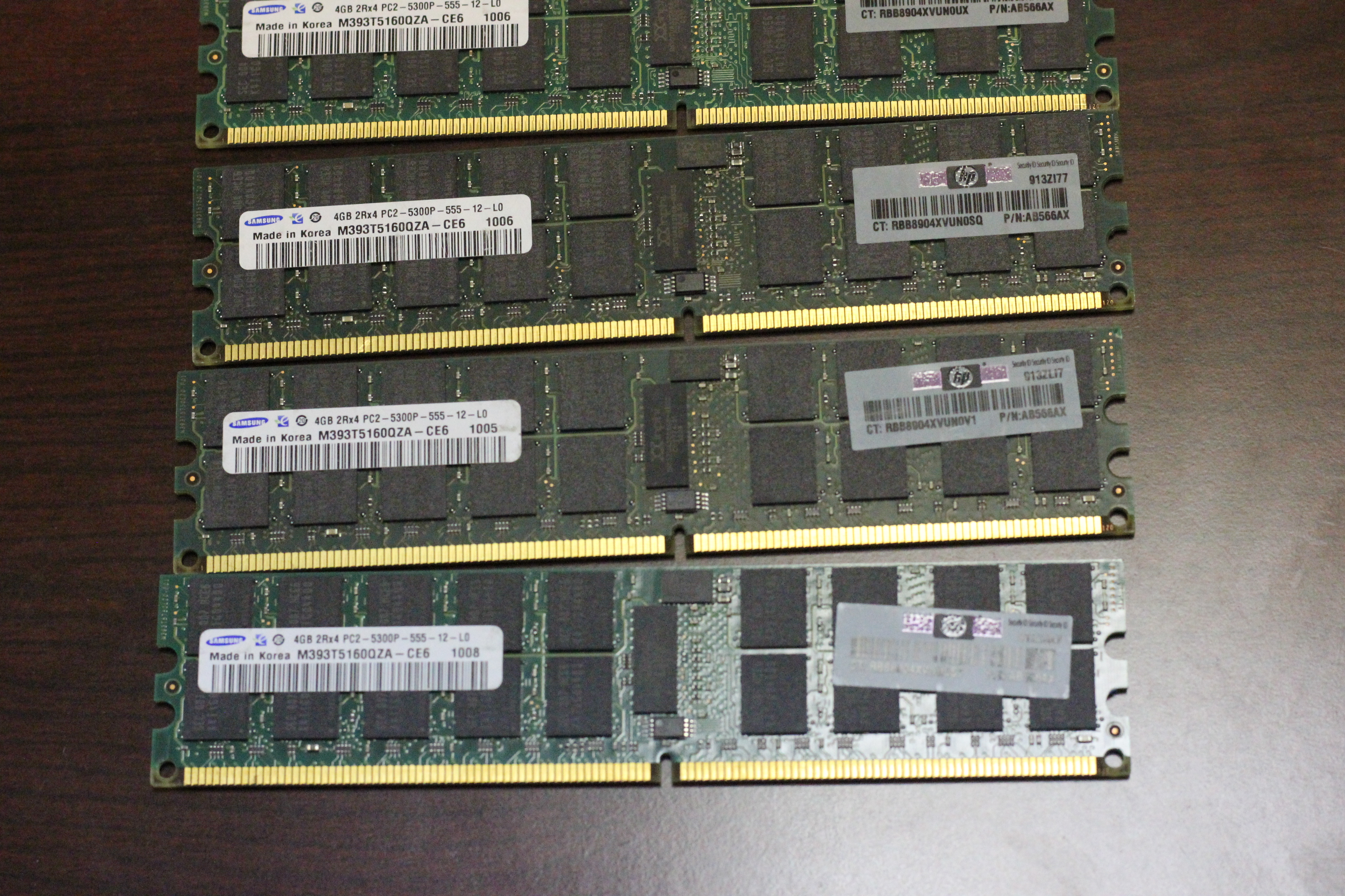 Server Ram 16gb 4x 4gb Pc2 5300p Ecc Reg Ddr2 667 Pc5300